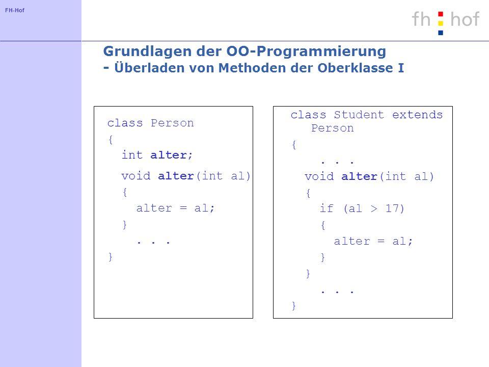 FH-Hof Grundlagen der OO-Programmierung - Überladen von Methoden der Oberklasse I class Person { int alter; void alter(int al) { alter = al; }...
