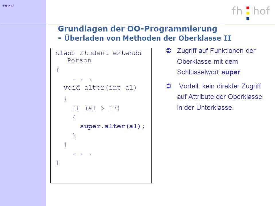 FH-Hof Grundlagen der OO-Programmierung - Überladen von Methoden der Oberklasse II class Student extends Person {...