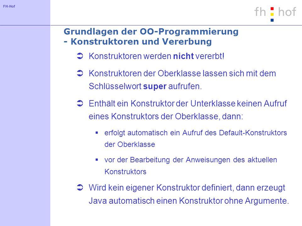 FH-Hof Grundlagen der OO-Programmierung - Konstruktoren und Vererbung Konstruktoren werden nicht vererbt.