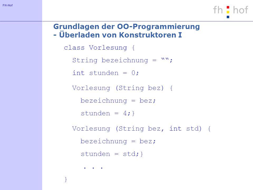 FH-Hof Grundlagen der OO-Programmierung - Überladen von Konstruktoren I class Vorlesung { String bezeichnung = ; int stunden = 0; Vorlesung (String bez) { bezeichnung = bez; stunden = 4;} Vorlesung (String bez, int std) { bezeichnung = bez; stunden = std;}...