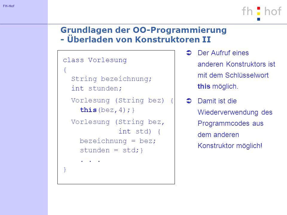 FH-Hof Grundlagen der OO-Programmierung - Überladen von Konstruktoren II class Vorlesung { String bezeichnung; int stunden; Vorlesung (String bez) { this(bez,4);} Vorlesung (String bez, int std) { bezeichnung = bez; stunden = std;}...
