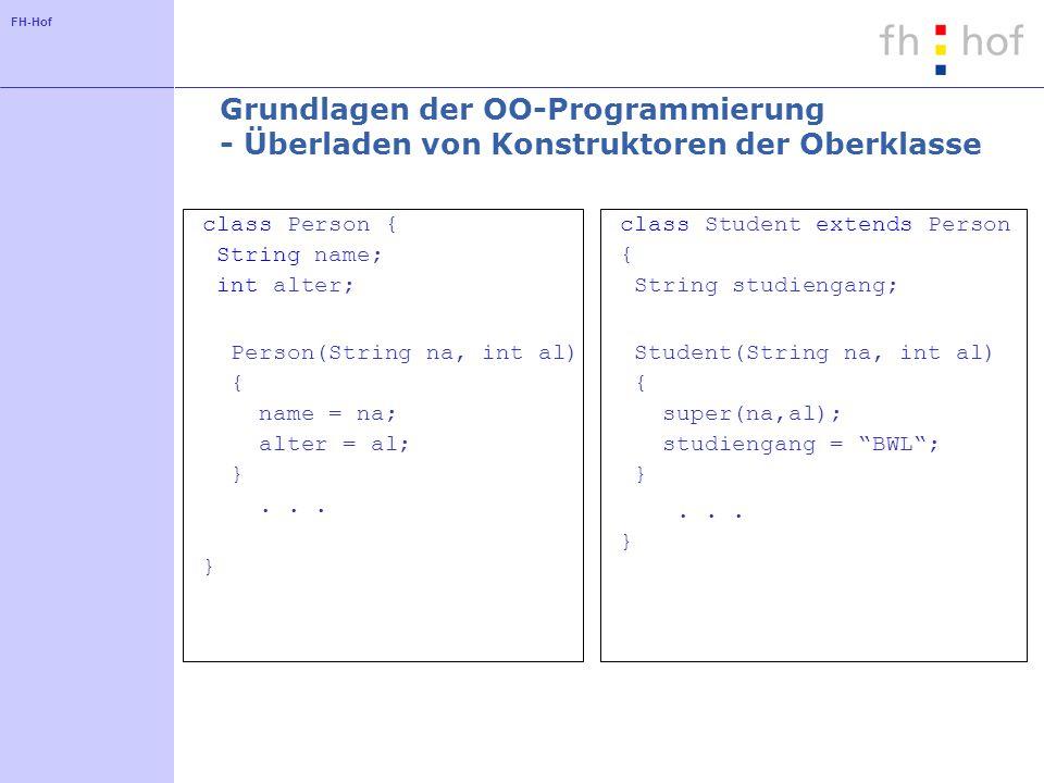 FH-Hof Grundlagen der OO-Programmierung - Überladen von Konstruktoren der Oberklasse class Person { String name; int alter; Person(String na, int al) { name = na; alter = al; }...