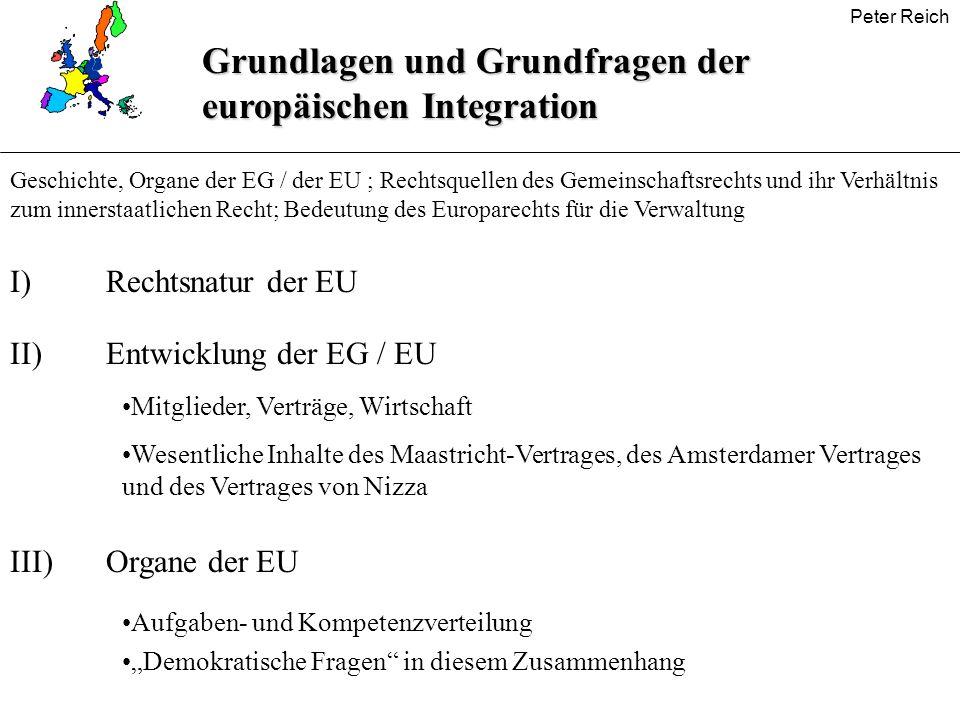 Grundlagen und Grundfragen der europäischen Integration Geschichte, Organe der EG / der EU ; Rechtsquellen des Gemeinschaftsrechts und ihr Verhältnis
