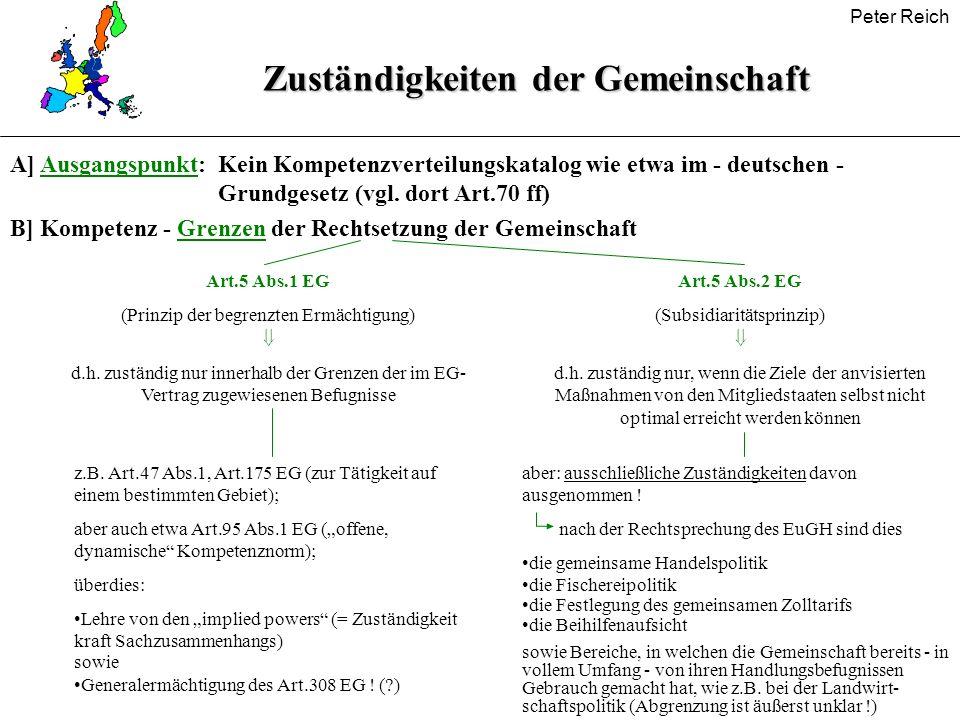 Peter Reich Zuständigkeiten der Gemeinschaft A] Ausgangspunkt:Kein Kompetenzverteilungskatalog wie etwa im - deutschen - Grundgesetz (vgl. dort Art.70