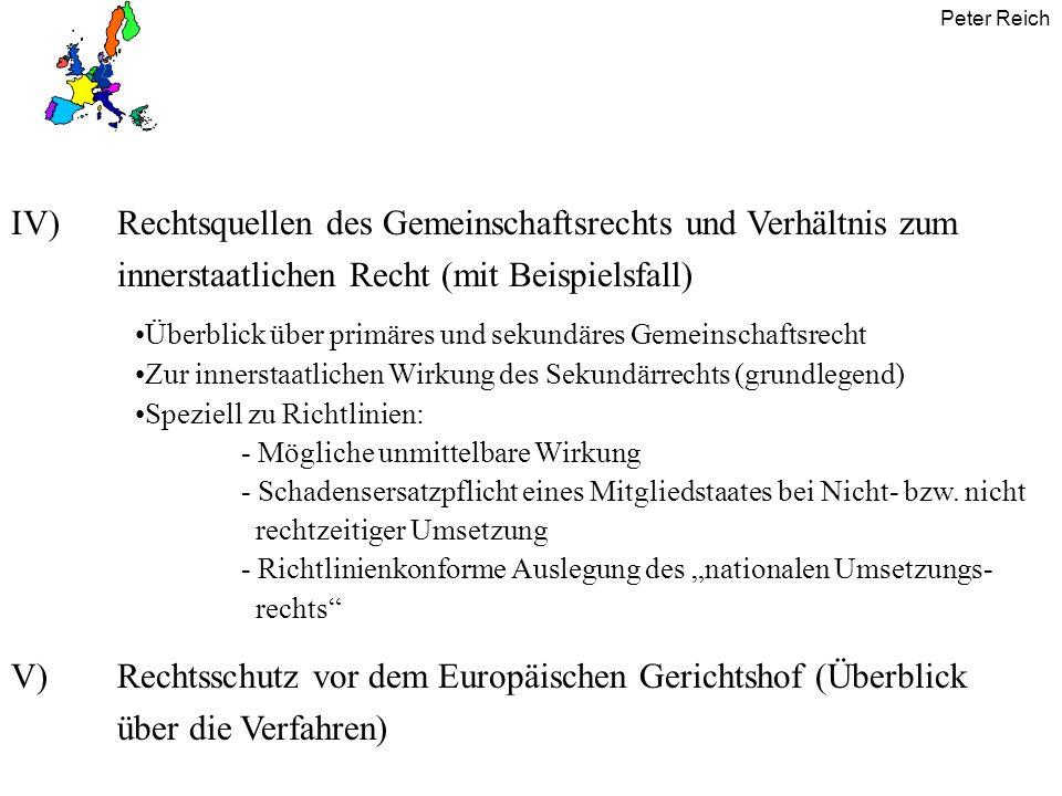 Peter Reich Einwirkung des Europarechts auf das nationale Recht III) Richtlinien vor Ablauf der Umsetzungsfrist keine inner- staatliche Wirkung (nur Umsetzungsver- pflichtung des MS, Art.249 Abs.3 EG) nach Ablauf der Umsetzungsfrist - durch MS nicht umgesetzt nicht ordnungsgemäß umgesetzt umgesetzt evtl.