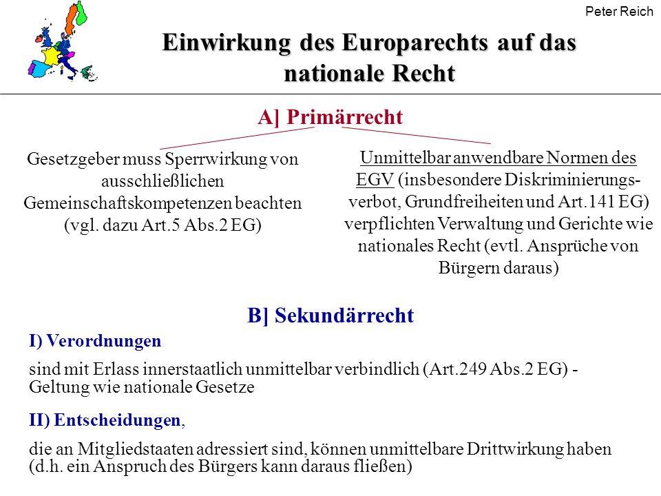 Peter Reich Einwirkung des Europarechts auf das nationale Recht A] Primärrecht B] Sekundärrecht I) Verordnungen sind mit Erlass innerstaatlich unmitte