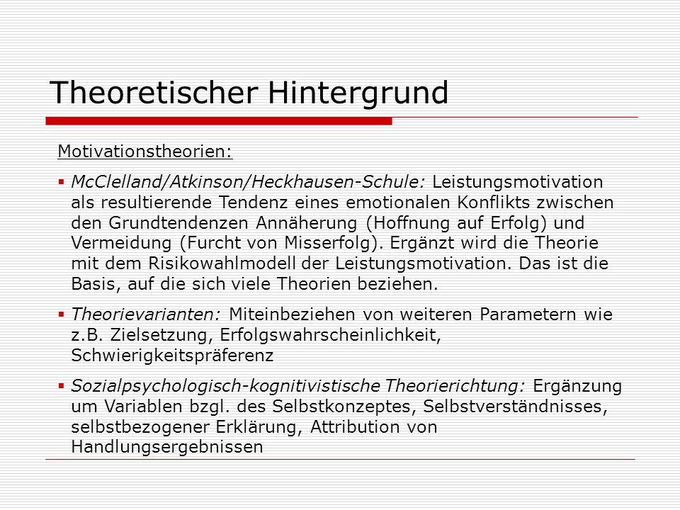 Theoretischer Hintergrund Motivationstheorien: McClelland/Atkinson/Heckhausen-Schule: Leistungsmotivation als resultierende Tendenz eines emotionalen
