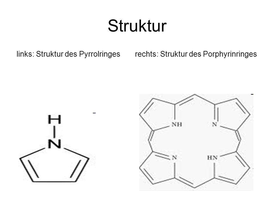 Struktur links: Struktur des Pyrrolringes rechts: Struktur des Porphyrinringes