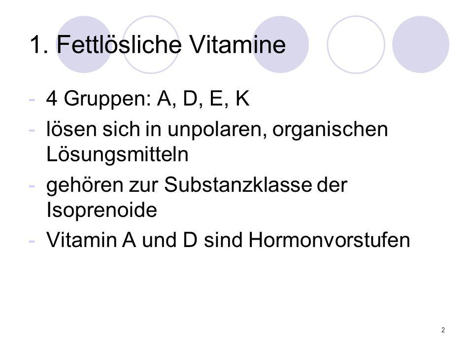 2 1. Fettlösliche Vitamine -4 Gruppen: A, D, E, K -lösen sich in unpolaren, organischen Lösungsmitteln -gehören zur Substanzklasse der Isoprenoide -Vi