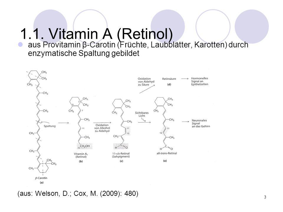 3 1.1. Vitamin A (Retinol) aus Provitamin β-Carotin (Früchte, Laubblätter, Karotten) durch enzymatische Spaltung gebildet (aus: Welson, D.; Cox, M. (2