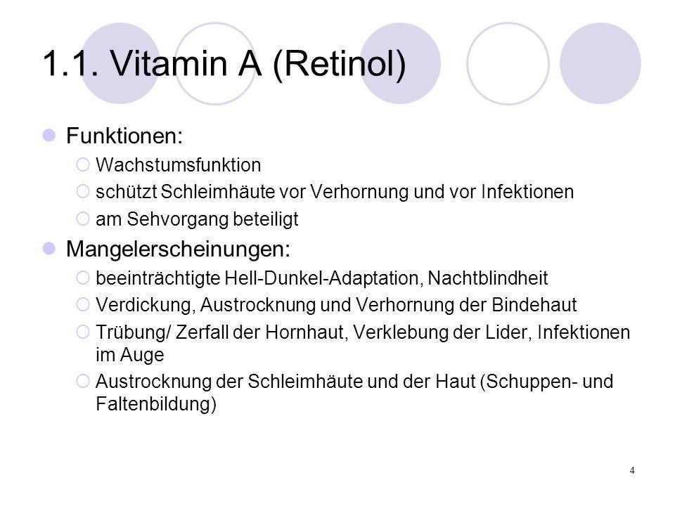4 1.1. Vitamin A (Retinol) Funktionen: Wachstumsfunktion schützt Schleimhäute vor Verhornung und vor Infektionen am Sehvorgang beteiligt Mangelerschei