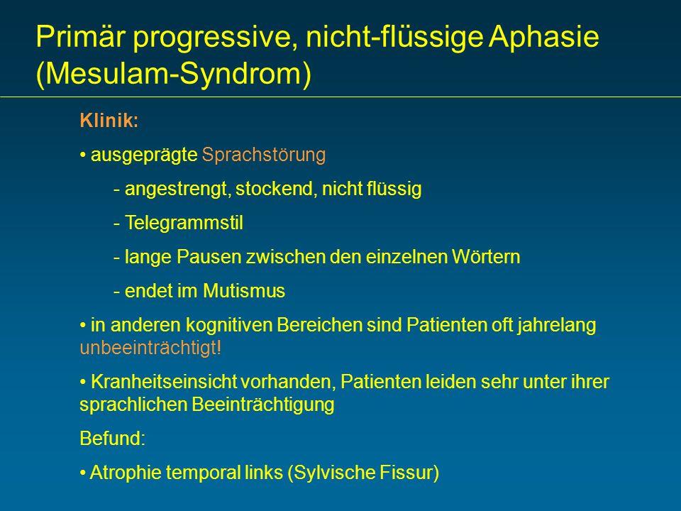 Primär progressive, nicht-flüssige Aphasie (Mesulam-Syndrom) Klinik: ausgeprägte Sprachstörung - angestrengt, stockend, nicht flüssig - Telegrammstil