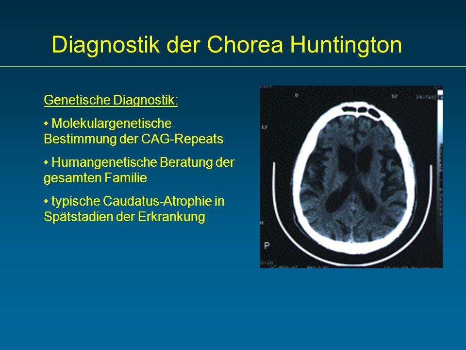 Diagnostik der Chorea Huntington Genetische Diagnostik: Molekulargenetische Bestimmung der CAG-Repeats Humangenetische Beratung der gesamten Familie t