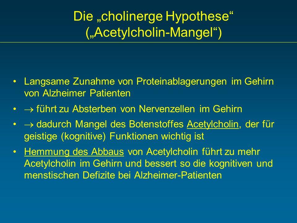 Die cholinerge Hypothese (Acetylcholin-Mangel) Langsame Zunahme von Proteinablagerungen im Gehirn von Alzheimer Patienten führt zu Absterben von Nerve