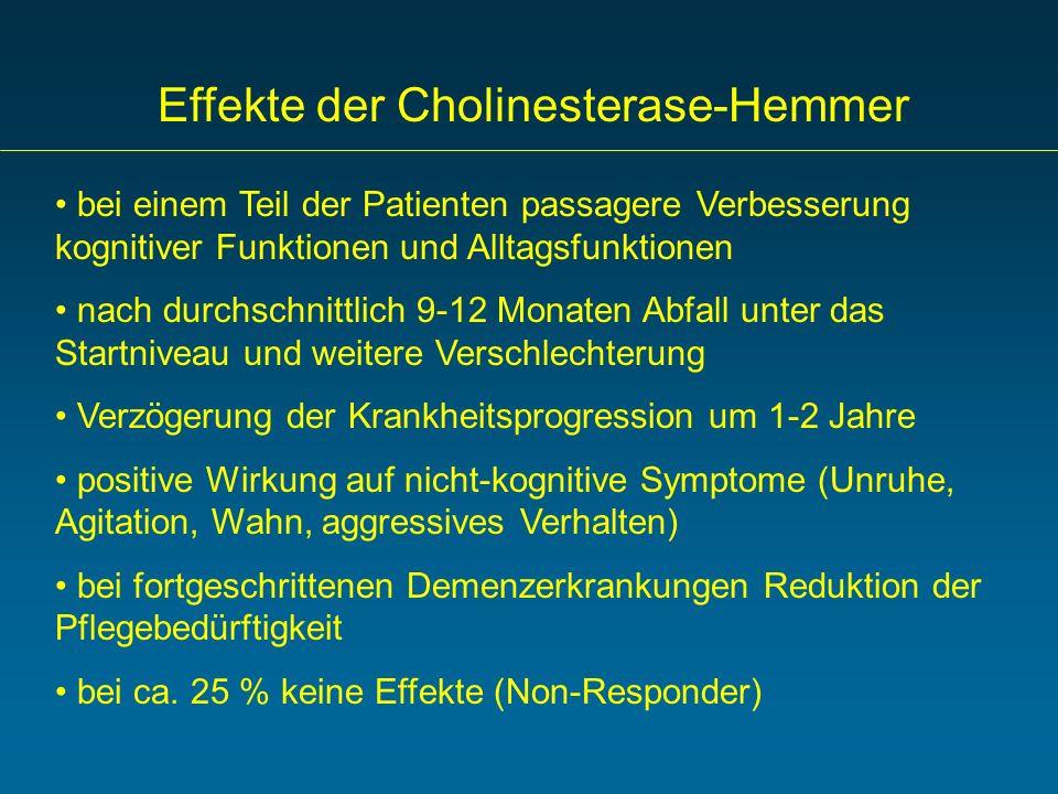 Effekte der Cholinesterase-Hemmer bei einem Teil der Patienten passagere Verbesserung kognitiver Funktionen und Alltagsfunktionen nach durchschnittlic