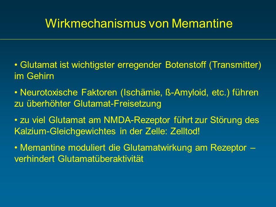 Wirkmechanismus von Memantine Glutamat ist wichtigster erregender Botenstoff (Transmitter) im Gehirn Neurotoxische Faktoren (Ischämie, ß-Amyloid, etc.