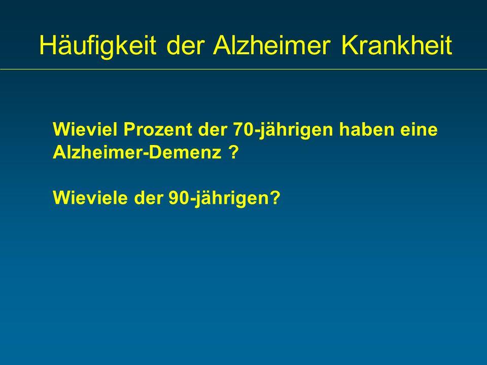 Häufigkeit der Alzheimer Krankheit Wieviel Prozent der 70-jährigen haben eine Alzheimer-Demenz ? Wieviele der 90-jährigen?