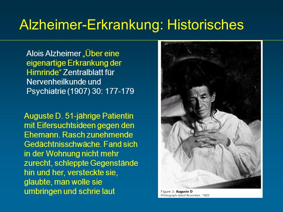 Alzheimer-Erkrankung: Historisches Alois Alzheimer Über eine eigenartige Erkrankung der Hirnrinde Zentralblatt für Nervenheilkunde und Psychiatrie (19