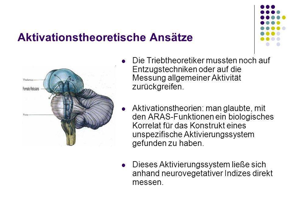 Aktivationstheoretische Ansätze Die Triebtheoretiker mussten noch auf Entzugstechniken oder auf die Messung allgemeiner Aktivität zurückgreifen. Aktiv