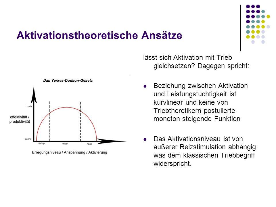 Aktivationstheoretische Ansätze lässt sich Aktivation mit Trieb gleichsetzen? Dagegen spricht: Beziehung zwischen Aktivation und Leistungstüchtigkeit