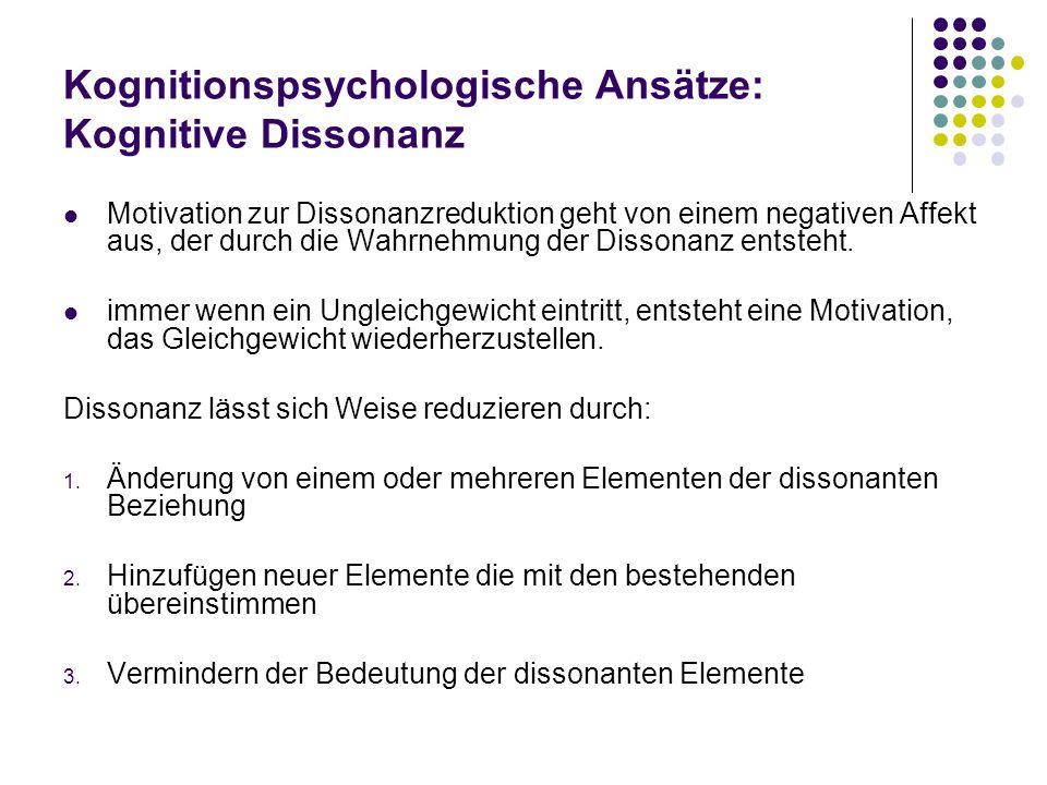Kognitionspsychologische Ansätze: Kognitive Dissonanz Motivation zur Dissonanzreduktion geht von einem negativen Affekt aus, der durch die Wahrnehmung
