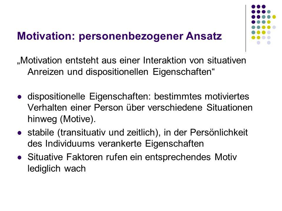 Motivation: personenbezogener Ansatz Motivation entsteht aus einer Interaktion von situativen Anreizen und dispositionellen Eigenschaften dispositione