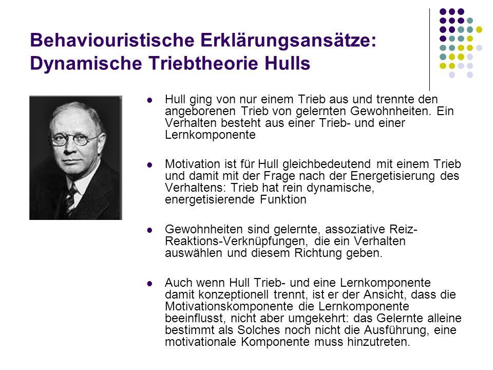 Behaviouristische Erklärungsansätze: Dynamische Triebtheorie Hulls Hull ging von nur einem Trieb aus und trennte den angeborenen Trieb von gelernten G