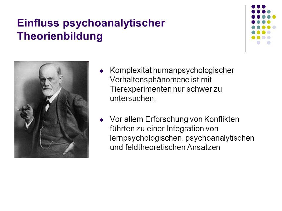 Einfluss psychoanalytischer Theorienbildung Komplexität humanpsychologischer Verhaltensphänomene ist mit Tierexperimenten nur schwer zu untersuchen. V