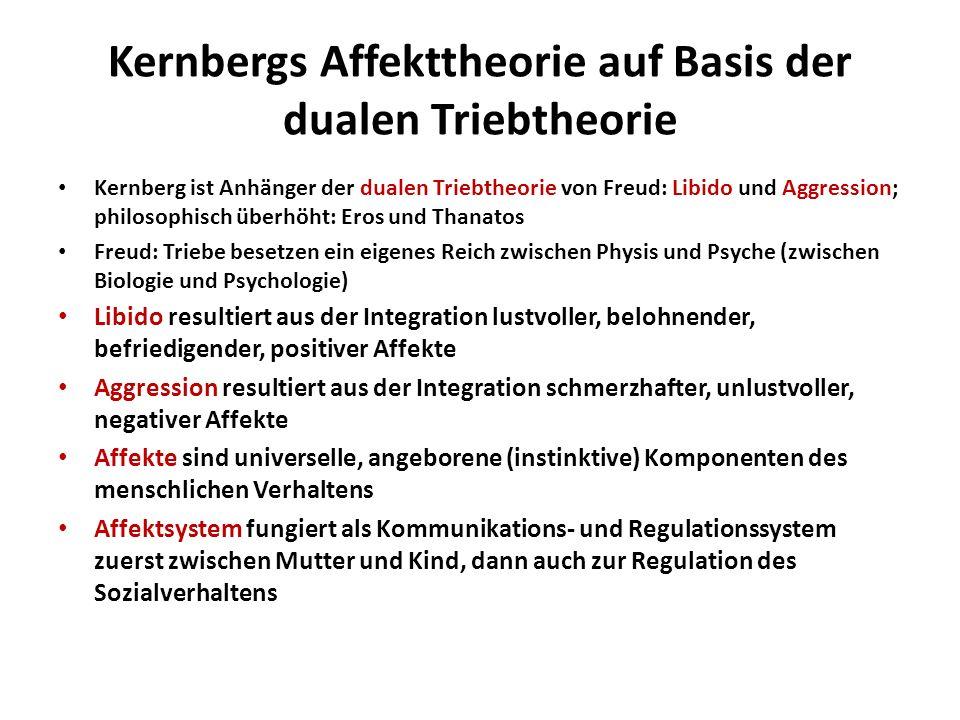 Kernbergs Affekttheorie auf Basis der dualen Triebtheorie Kernberg ist Anhänger der dualen Triebtheorie von Freud: Libido und Aggression; philosophisc