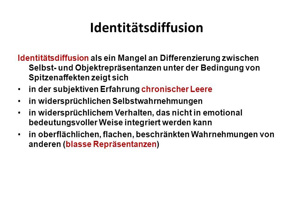 Identitätsdiffusion Identitätsdiffusion als ein Mangel an Differenzierung zwischen Selbst- und Objektrepräsentanzen unter der Bedingung von Spitzenaff