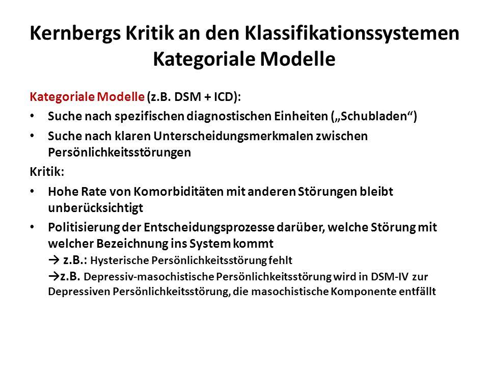 Kernbergs Kritik an den Klassifikationssystemen Kategoriale Modelle Kategoriale Modelle (z.B. DSM + ICD): Suche nach spezifischen diagnostischen Einhe