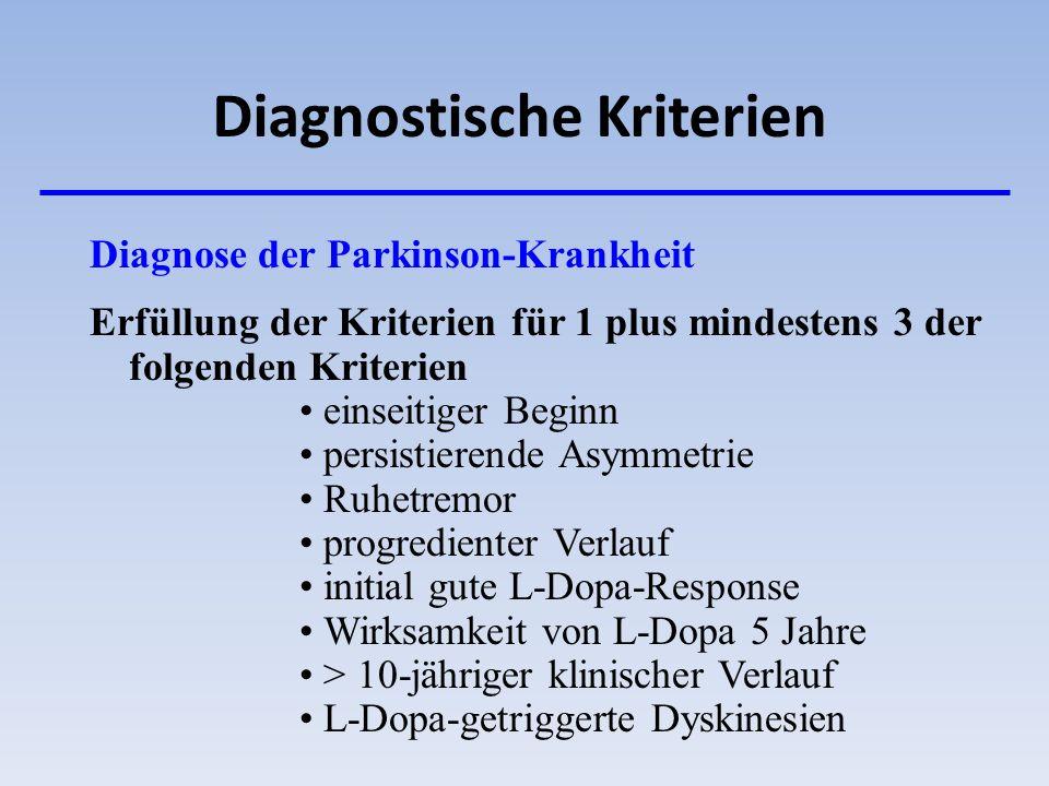 Diagnostische Kriterien Diagnose der Parkinson-Krankheit Erfüllung der Kriterien für 1 plus mindestens 3 der folgenden Kriterien einseitiger Beginn pe