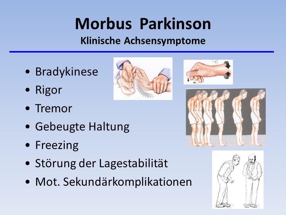 Morbus Parkinson Klinische Achsensymptome Bradykinese Rigor Tremor Gebeugte Haltung Freezing Störung der Lagestabilität Mot. Sekundärkomplikationen