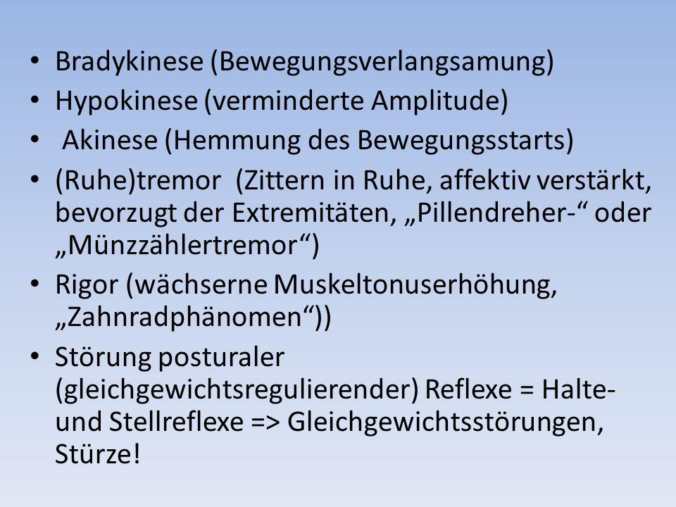 Bradykinese (Bewegungsverlangsamung) Hypokinese (verminderte Amplitude) Akinese (Hemmung des Bewegungsstarts) (Ruhe)tremor (Zittern in Ruhe, affektiv