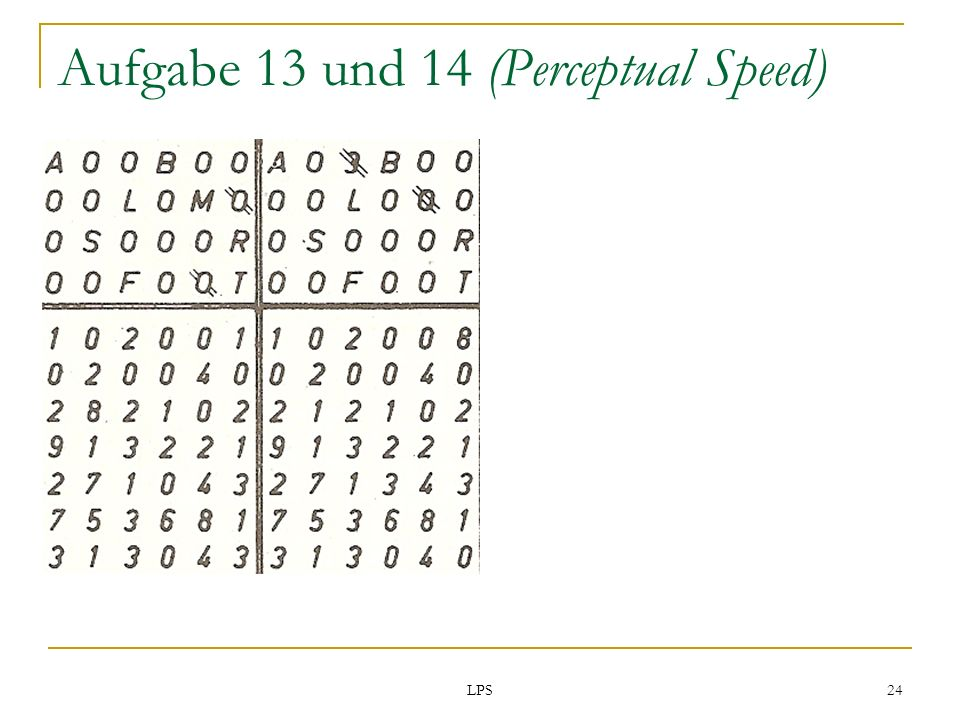 LPS 24 Aufgabe 13 und 14 (Perceptual Speed)