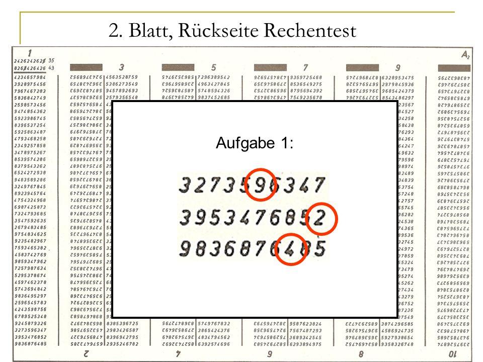 LPS 25 2. Blatt, Rückseite Rechentest Aufgabe 1:
