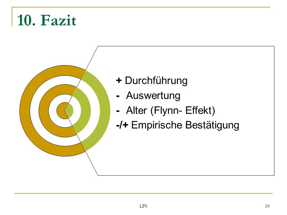 LPS 39 10. Fazit + Durchführung -Auswertung - Alter (Flynn- Effekt) -/+ Empirische Bestätigung