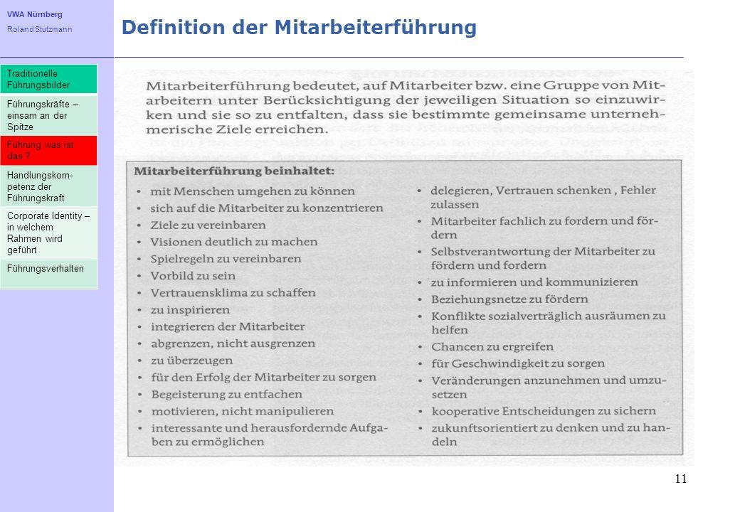 VWA Nürnberg Roland Stutzmann Definition der Mitarbeiterführung 11 Traditionelle Führungsbilder Führungskräfte – einsam an der Spitze Führung was ist