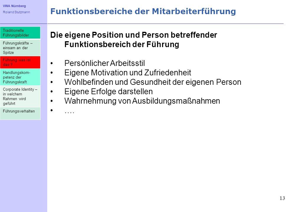 VWA Nürnberg Roland Stutzmann Funktionsbereiche der Mitarbeiterführung 13 Die eigene Position und Person betreffender Funktionsbereich der Führung Per