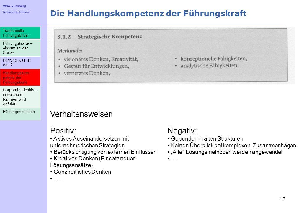VWA Nürnberg Roland Stutzmann Die Handlungskompetenz der Führungskraft 17 Traditionelle Führungsbilder Führungskräfte – einsam an der Spitze Führung w