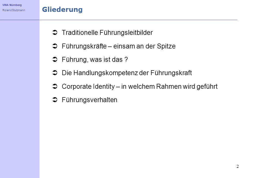 VWA Nürnberg Roland Stutzmann 2 Gliederung Traditionelle Führungsleitbilder Führungskräfte – einsam an der Spitze Führung, was ist das ? Die Handlungs
