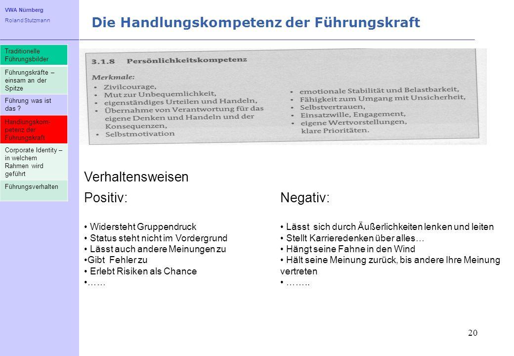 VWA Nürnberg Roland Stutzmann Die Handlungskompetenz der Führungskraft 20 Traditionelle Führungsbilder Führungskräfte – einsam an der Spitze Führung w