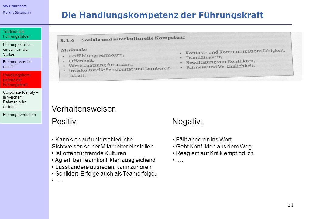 VWA Nürnberg Roland Stutzmann Die Handlungskompetenz der Führungskraft 21 Traditionelle Führungsbilder Führungskräfte – einsam an der Spitze Führung w