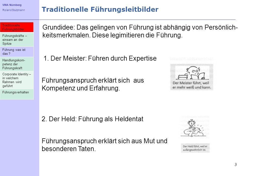 VWA Nürnberg Roland Stutzmann Traditionelle Führungsleitbilder 3 Grundidee: Das gelingen von Führung ist abhängig von Persönlich- keitsmerkmalen. Dies