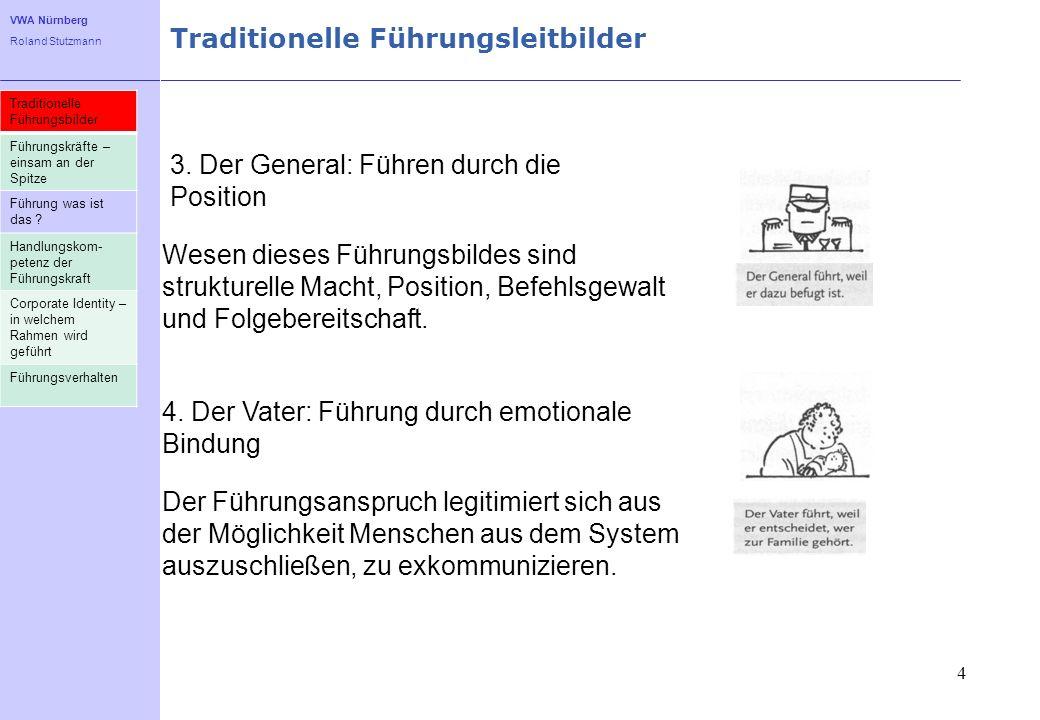 VWA Nürnberg Roland Stutzmann Traditionelle Führungsleitbilder 4 3. Der General: Führen durch die Position Wesen dieses Führungsbildes sind strukturel