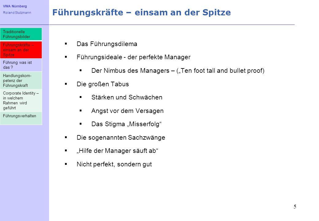 VWA Nürnberg Roland Stutzmann Führungskräfte – einsam an der Spitze 5 Das Führungsdilema Führungsideale - der perfekte Manager Der Nimbus des Managers