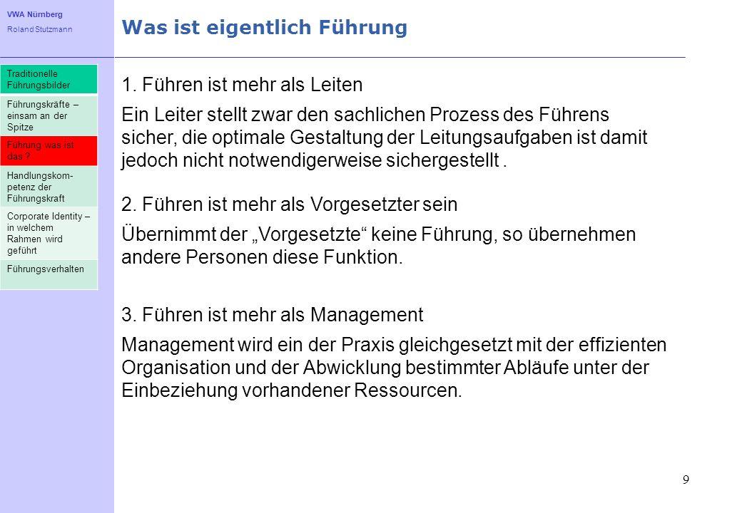 VWA Nürnberg Roland Stutzmann Was ist eigentlich Führung 9 1. Führen ist mehr als Leiten Ein Leiter stellt zwar den sachlichen Prozess des Führens sic