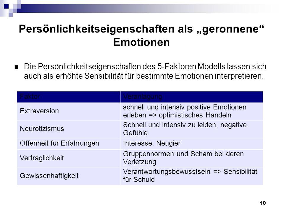 10 Persönlichkeitseigenschaften als geronnene Emotionen Die Persönlichkeitseigenschaften des 5-Faktoren Modells lassen sich auch als erhöhte Sensibilität für bestimmte Emotionen interpretieren.