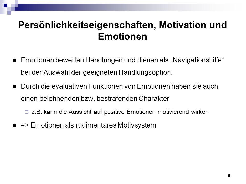 9 Persönlichkeitseigenschaften, Motivation und Emotionen Emotionen bewerten Handlungen und dienen als Navigationshilfe bei der Auswahl der geeigneten Handlungsoption.