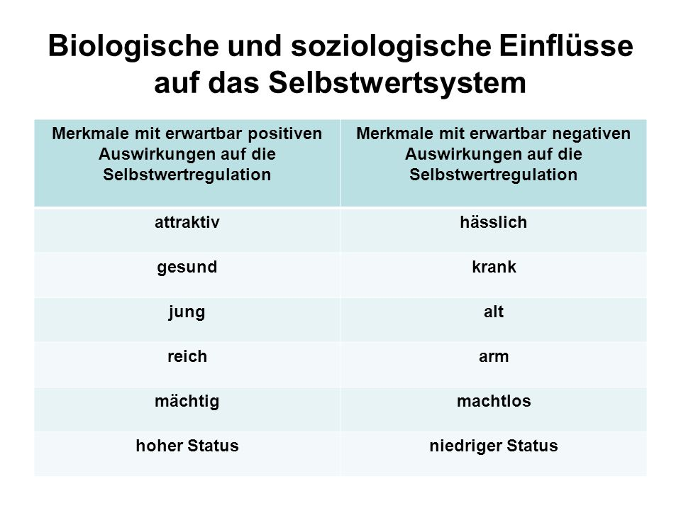 Biologische und soziologische Einflüsse auf das Selbstwertsystem Merkmale mit erwartbar positiven Auswirkungen auf die Selbstwertregulation Merkmale m